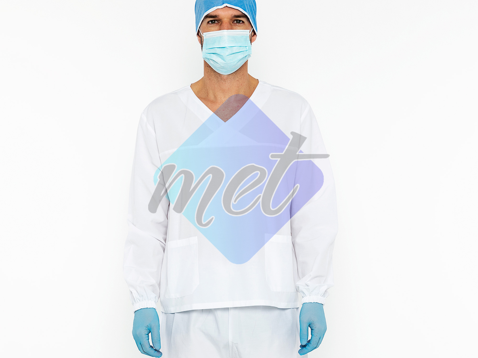 Scrubs With Long Sleeves 2 Piece Set White (Men)