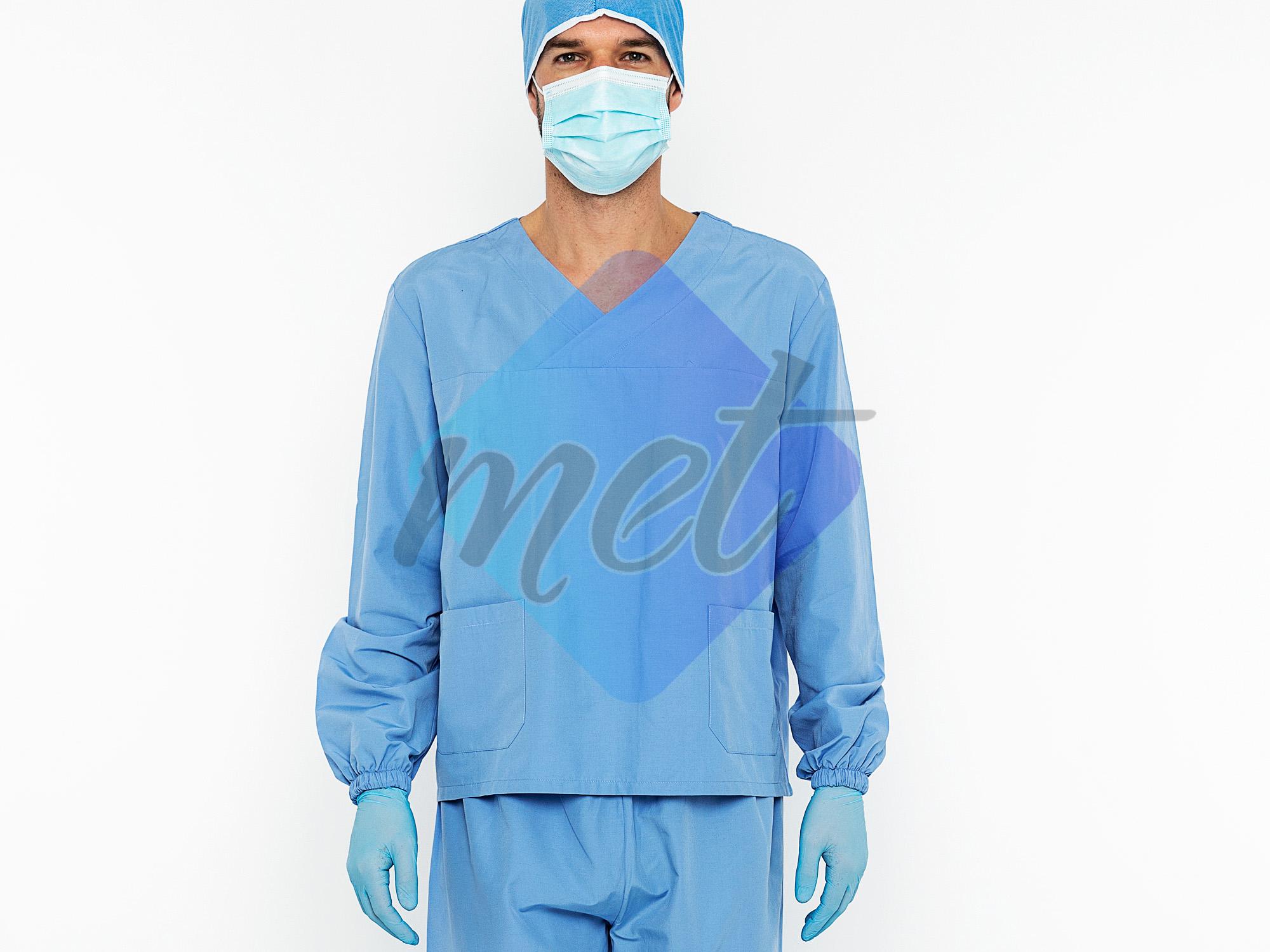 Hemşire/Dr. Önlüğü Uzun Kol Set (Mavi/Erkek)